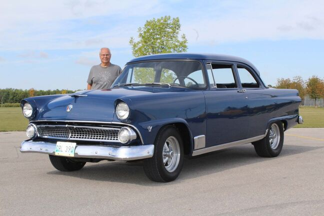 Wally Mazurek bought this 1955 Ford Mainline Tudor sedan in Landis, Sask., in 1973. It has been a recurring project of his ever since. (Larry D&rsquo;Argis / Winnipeg Free Press)</p>