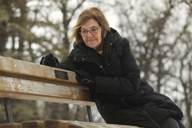 RUTH BONNEVILLE / WINNIPEG FREE PRESS</p><p>LOCAL - bench memorials</p><p>Assiniboine Park near steam train.</p></p><p>Where - Assiniboine Park, near start of steam train, near small stream of water</p><p>Portrait of Lyle Koncan sits on a memorial park bench she purchased in memory of husband Tony and their dog Daisy Tuesday.</p><p>Lyle had made donation of $1,500 for memorial bench for memory of husband Tony and their dog Daisy in Sept. 2008 and was told the bench was there