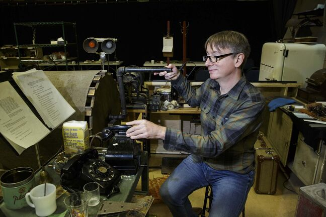 John Gzowski is the guy responsible for creating the Foley sound effects for RMTC's upcoming production of It's a Wonderful Life: The Radio Play. (Mike Deal photos / Winnipeg Free Press)