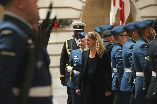 RUTH BONNEVILLE / WINNIPEG FREE PRESS</p><p>Gov. Gen. Julie Payette makes her way through the the inspection of the guard at the Manitoba Legislative Building at her official welcoming ceremony on Monday.</p>