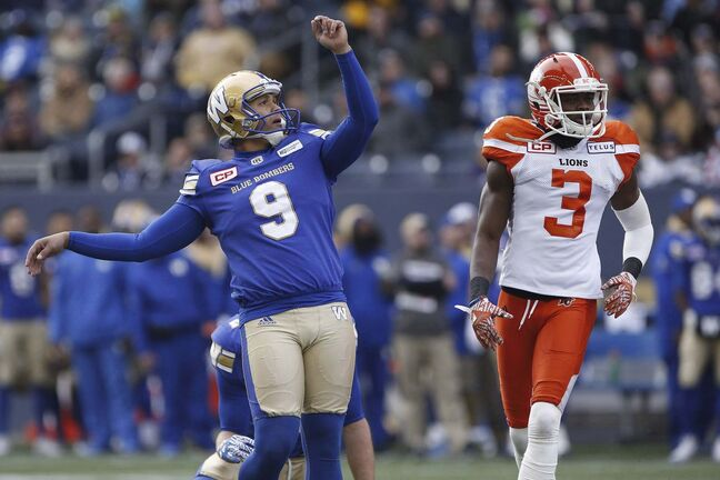 Justin Medlock had a field goal success rate of almost 90 per cent last season and a punting average that was the highest of his eight-year CFL career. (John Woods / The Canadian Press files)</p>