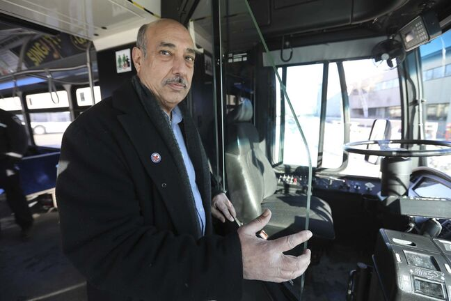 Amalgamated Transit Union Local 1505 president Aleem Chaudhary says staff turnover is linked to frustration over the perceived foot-dragging on safety concerns in buses. (Ruth Bonneville / Winnipeg Free Press files)</p>