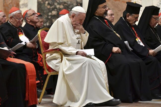 Vincenzo Pinto / Pool FILES</p><p>Pope Francis attends a penitential liturgy at the Vatican on Feb. 23.</p>