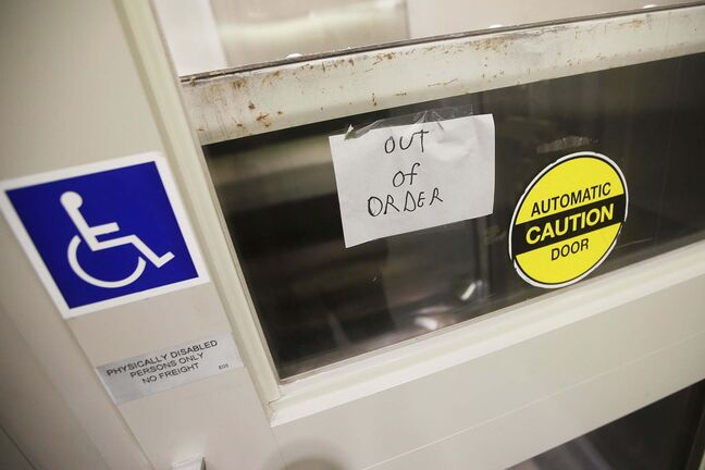 The wheelchair lift at Portage and Main was out of order for most of February. (John Woods / Winnipeg Free Press files)