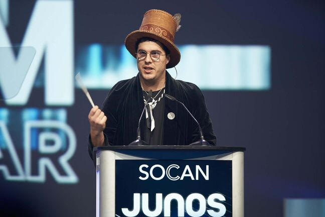 Jeremy Dutcher, the winner of Indigenous music album, speaks at the Juno Gala Dinner and Awards in London, Ont., Saturday, March 16, 2019. (Geoff Robins / The Canadian Press)