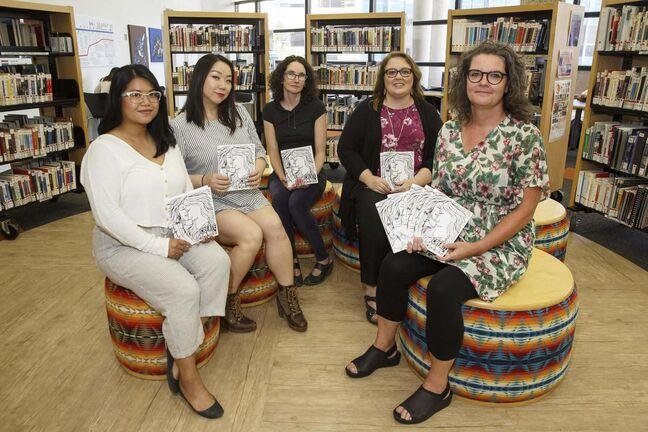 MIKE DEAL / WINNIPEG FREE PRESS</p><p>Volunteers from the Manitoba Library Association's Prison Libraries Committee: Krys Cole (from left), Hee-Jung Serenity Joo, Kathryn Ready, Terri Wiest and Kirsten Wurmann.</p>