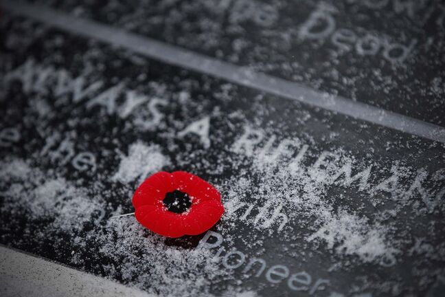 John Woods / THE CANADIAN PRESS Files</p><p>A poppy is placed on a memorial plaque at a cenotaph during a Remembrance Day service at Vimy Ridge Memorial Park in Winnipeg, Nov. 11, 2018.</p>