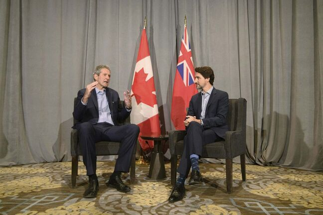 Manitoba Premier Brian Pallister speaks to media while meeting with Prime Minister Justin Trudeau during the Liberal Cabinet Retreat at the Fairmont Hotel in Winnipeg. (Mike Sudoma / The Canadian Press)</p>