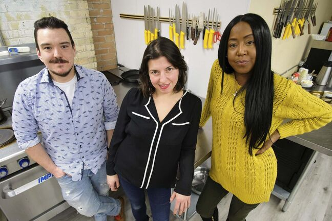 From left: Chefs Watson, Rachel Sansregent and Melissa Brown will be cooking for the Ishkode Indigenous Cuisine Pop-Up as part of Festival du Voyageur. (Daniel Crump / Winnipeg Free Press)