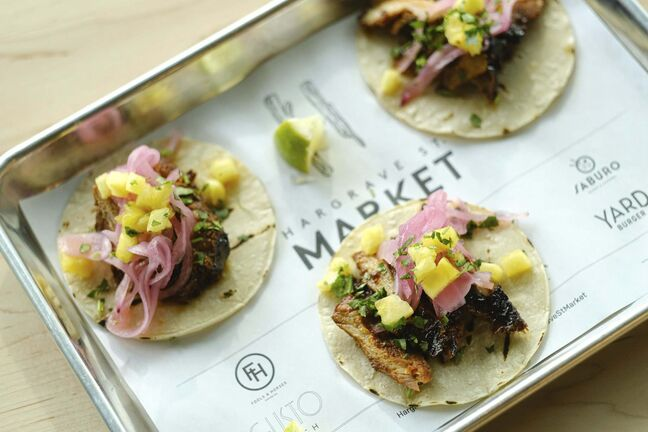 The el pastor tacos, featuring pulled pork shoulder and pineapple, from the Good Fight Taco. (Mike Sudoma / Winnipeg Free Press)