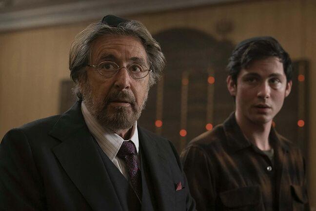 Al Pacino, left, as Meyer Offerman and Logan Lerman as Jonah Heidelbaum in Hunters. (Christopher Saunders / Amazon Prime)