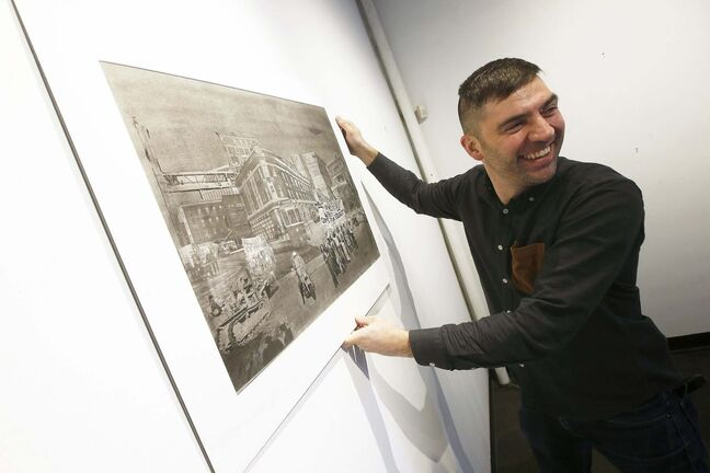 Kevin Fawley, artist of The ReMix City, will be showing his work at Warehouse ArtWorks as part of First Fridays in the Exchange. (John Woods / Winnipeg Free Press)