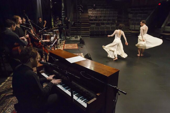 Dancers, musicians and director Thomas Morgan Jones worked together to transform Heavy Bell's songs into movement. (Mike Deal / Winnipeg Free Press)