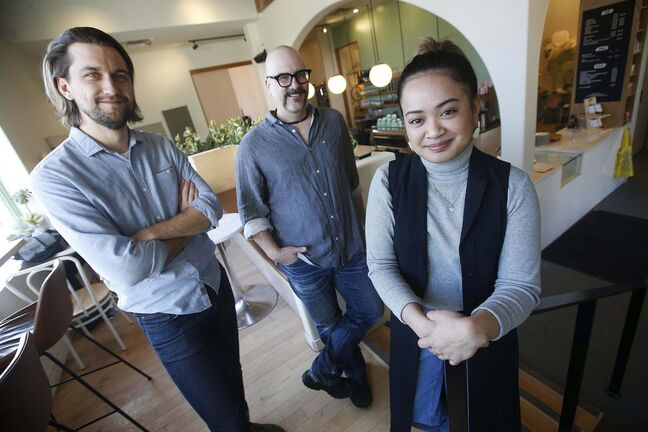 Actor Kristian Jordan (from left) with director Sean Garrity and actor Hera Nalam. (John Woods / Winnipeg Free Press)