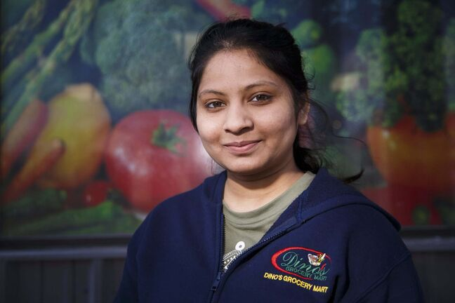 Radhi Chauhan, grocery store clerk at Dino's Grocery Mart, 84 Isabel St, is one of the frontline workers.