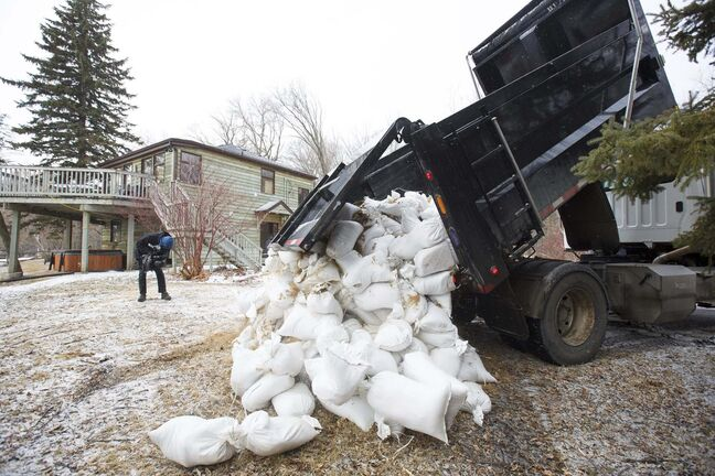 Sandbags are delivered in St. Norbert.</p>