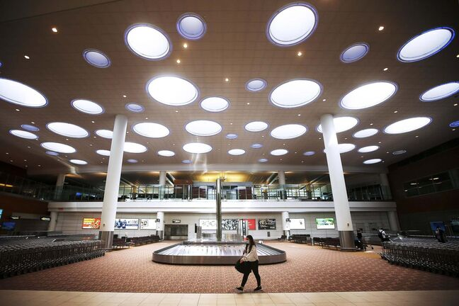 Visitors to Winnipeg's airport are few and far between as many flights have been cancelled.