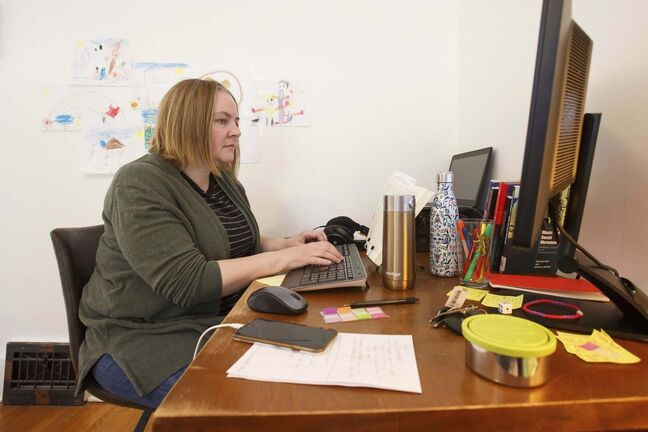 Alana Conway is now doing her job from much smaller digs: the corner of her bedroom in her West End home.