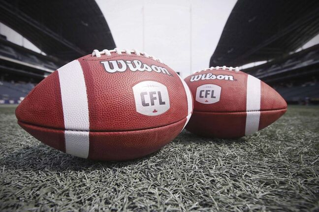 CFL balls are photographed at the Winnipeg Blue Bombers stadium in Winnipeg Thursday, May 24, 2018. An American developmental football league wants to help CFL commissioner Randy Ambrosie out. Brian Woods, the CEO of The Spring League, has approached Ambrosie about a partnership. Woods is offering an opportunity for some CFL teams to practise with and play against Spring League squads in September in a condensed format he says has proven beneficial to his operation. THE CANADIAN PRESS/John Woods</p>