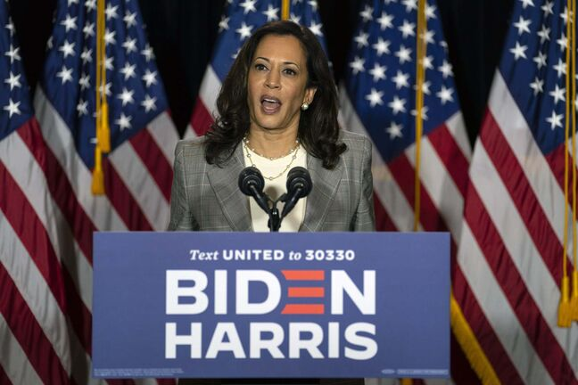 Sen. Kamala Harris, D-Calif., speaks during a news conference with Democratic presidential candidate former Vice President Joe Biden at the Hotel DuPont in Wilmington, Del., Thursday, Aug. 13, 2020. (AP Photo/Carolyn Kaster)</p>