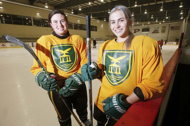 Balmoral Hall Blazers Ashlyn Zaharia, left, and Chiara Esposito are photographed at practice in Winnipeg Tuesday, September 8, 2020.