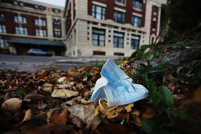 Discarded masks on Winnipeg streets on Sept. 28, 2020.