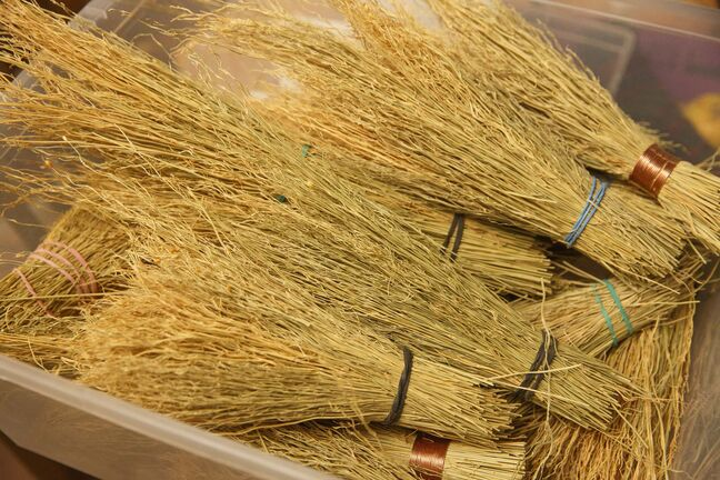 MIKE DEAL / WINNIPEG FREE PRESS</p><p>Amina Haswell recently started a home based broom making business, Prairie Breeze Folk Arts Studio, and was due to make her vendor debut at the Folk Fest this year.</p><p>She makes all kinds of brooms - whisks, cobweb brooms, fireplace brooms, yer basic sweep-the-kitchen brooms … she also makes traditional wedding brooms, and currently has a line of brooms made especially for Halloween - bippity boppity brooms.</p><p>See David Sanderson story</p><p>201002 - Friday, October 02, 2020.</p>