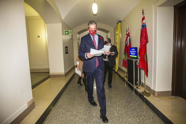 Premier Brian Pallister defended his decision to skip Friday's bad-news press conference by saying he didn't want to get in the way of public health officials on important announcements. (Mikaela MacKenzie / Winnipeg Free Press)