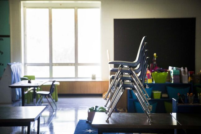 MIKAELA MACKENZIE / WINNIPEG FREE PRESS Empty classrooms at David Livingstone School in Winnipeg on Thursday, May 21, 2020. For Maggie Macintosh story. Winnipeg Free Press 2020.</p>
