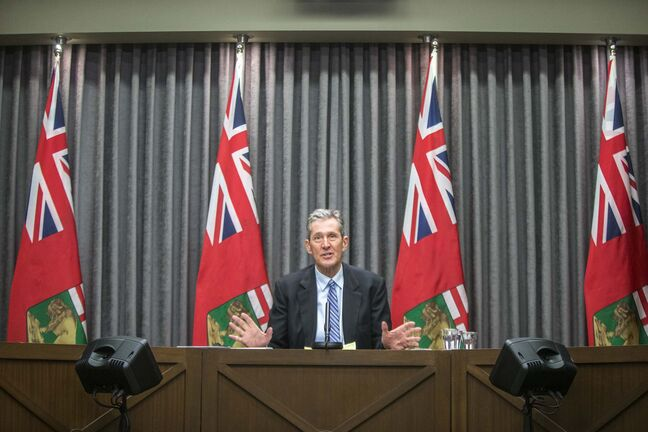MIKAELA MACKENZIE / WINNIPEG FREE PRESS Premier Brian Pallister gives a flood protection update at the Manitoba Legislative Building in Winnipeg on Thursday, Jan. 28, 2021. For --- story. Winnipeg Free Press 2021</p>