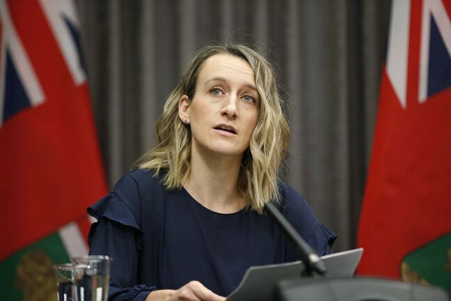 Dr. Joss Reimer, medical officer of health and medical lead for the Manitoba Vaccine Implementation Task Force speaks about COVID-19 vaccination initiatives and answers media questions during a COVID-19 live-streamed press conference at the Manitoba legislature in Winnipeg Friday, March 5, 2020. THE CANADIAN PRESS/John Woods</p>