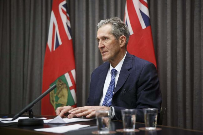 MIKE DEAL / WINNIPEG FREE PRESS Premier Brian Pallister during a media conference at the Manitoba Legislative building Thursday. 210311 - Thursday, March 11, 2021.</p>
