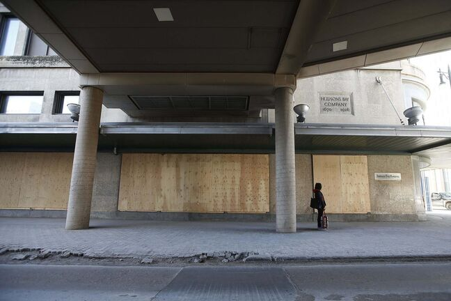 JOHN WOODS / WINNIPEG FREE PRESS</p><p>The boarded-up Bay building is emblematic of the crisis facing Winnipeg's downtown. Since the pandemic, nearly 50 per cent of Winnipeggers says they never or rarely come downtown.</p>