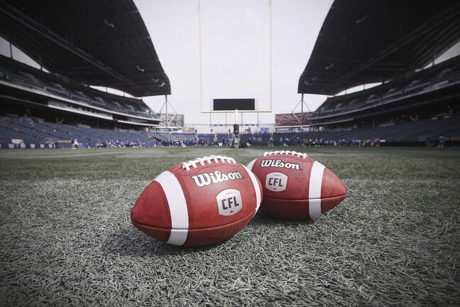 New CFL balls are photographed at the Winnipeg Blue Bombers stadium in Winnipeg Thursday, May 24, 2018. The CFL cancelled the '20 campaign Monday after its quest for a $30-million, interest-free loan from Ottawa fell through. The league had sought the federal assistance to stage an abbreviated season. THE CANADIAN PRESS/John Woods</p>