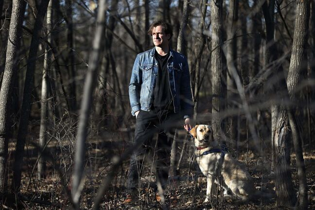JOHN WOODS / WINNIPEG FREE PRESS</p><p>Grant Davidson, a.k.a. Slow Leaves, says the pandemic has given him time not only to create music — 'the part I like the best' — but to spend time with his family and yellow Lab Charlie.</p>