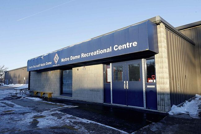 Notre Dame Recreational Centre is closed due to a broken cooling system, Monday.