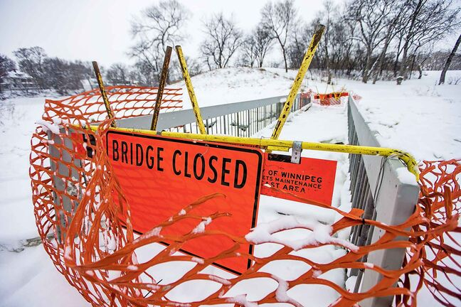 The closed Omand's Creek bridge in Wolseley on Friday.