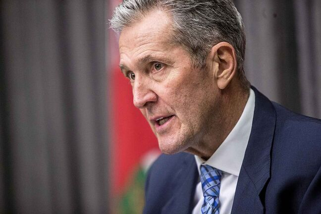 Premier Brian Pallister    Premier Brian Pallister speaks to the media about potential pension plan changes at the Manitoba Legislative Building in Winnipeg on Monday, Dec. 16, 2019. For Jessica Botelho-Urbasnki story.  Winnipeg Free Press 2019.