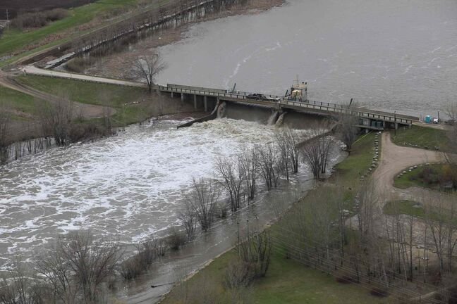 An aerial photo shows the Assiniboine River and the Portage Diversion in Manitoba in May 2011.