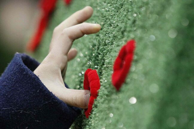 A young girl places her poppy on a memorial after the Remembrance Day service at the RBC Convention Centre Winnipeg.