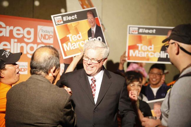 Premier Greg Selinger celebrates his election win Oct. 4, 2011. The NDP's support has dropped significantly since then thanks to a disastrous job selling the PST increase.