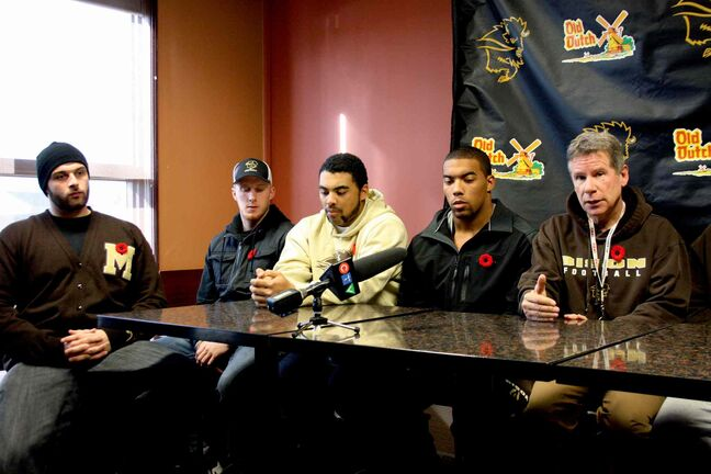 The University of Manitoba Bisons (shown here at a pre-game press conference) fell 43-28 to the University of Calgary Dinos on Nov. 9.