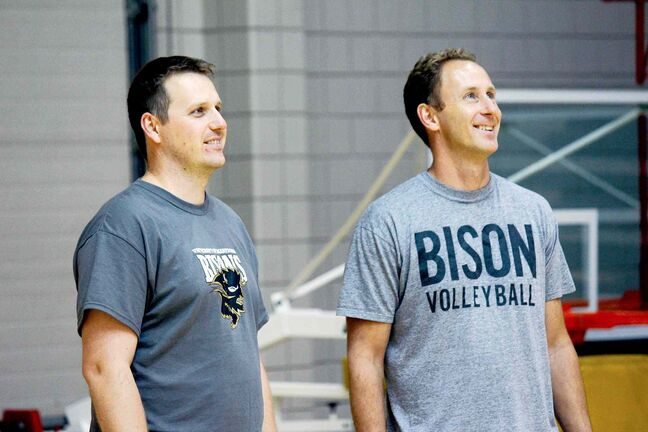 Cam Johnson (left) and Ryan Ratushniak are taking over the U of M Bisons men's volleyball team for the 2013-14 season.