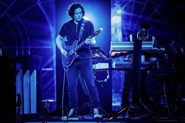 Singer and songwriter Jack White from the U.S. performs on the Auditorium Stravinski stage during the 52nd Montreux Jazz Festival, in Montreux, Switzerland, Tuesday, July 10, 2018. The event running from June 29 to July 14 will feature 380 concerts.
