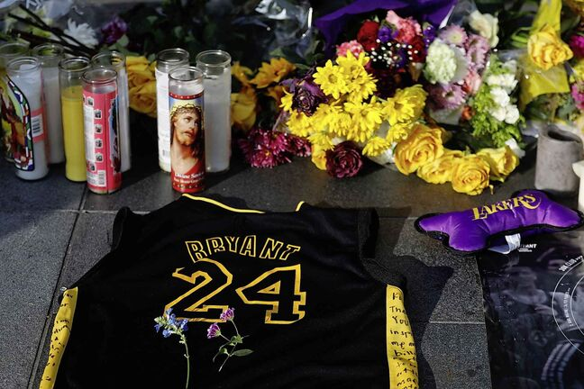 The memorials and tributes for Kobe Bryant have been a constant since the former basketball star died this past Sunday in a helicopter crash. (Francine Orr / Los Angeles Times)