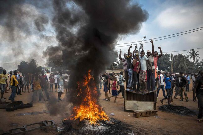 Second prize in the General News Stories category by William Daniels of France<p> Demonstrators gather on a street in Bangui, Central African Republic on Nov. 17, 2013 to call for the resignation of interim President Michel Djotodia following the murder of Judge Modeste Martineau Bria by members of Seleka.