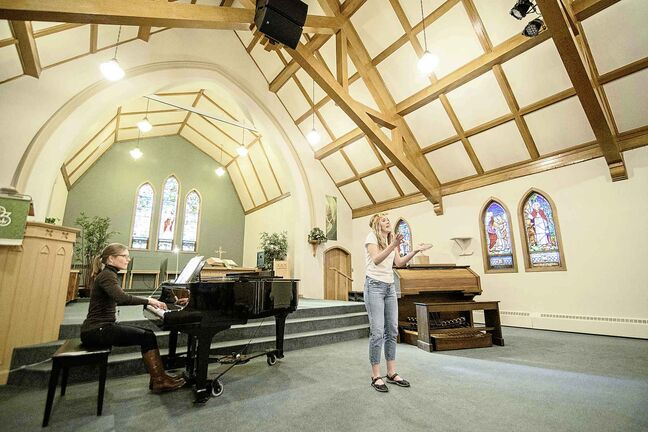 "Grace Pilkey of St johns Ravenscourt, performs ""Mamma Mia"" from the musical ""Mamma Mia at Churchill Park Church."