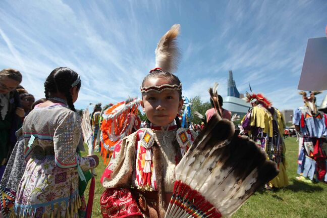 Six-year-old Serene Oakes dances during Saturday afternoon's National Aboriginal Day powwow.