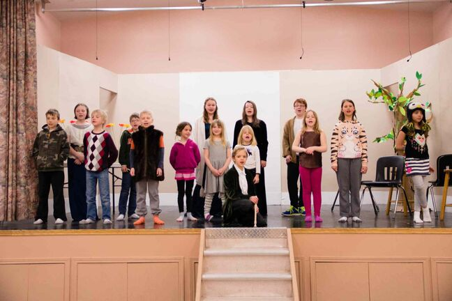 The cast of Pied Piper the Musical rehearse for their performances on April 12 and 13 in the Starbuck Community Hall.