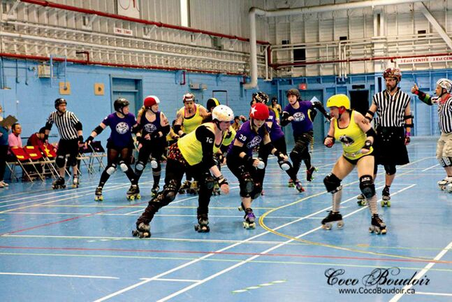 The WRDL All-Stars compete against the Thunder Bay Roller Derby League's Babes of Thunder in a match earlier this year. The WRDL All-Stars will face the Fargo Moorhead Derby Girls during DoubleHeader Mayhem at the Winnipeg Convention Centre Sept. 28.
